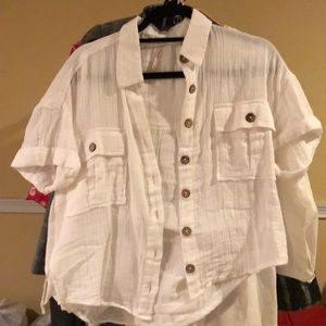 Free People linen shirt sleeves button up